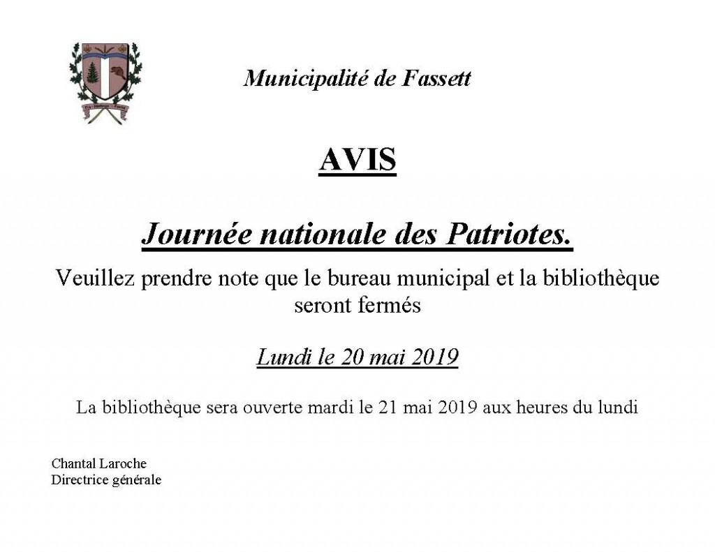 Bureau fermé Fête des Patriotes 2019