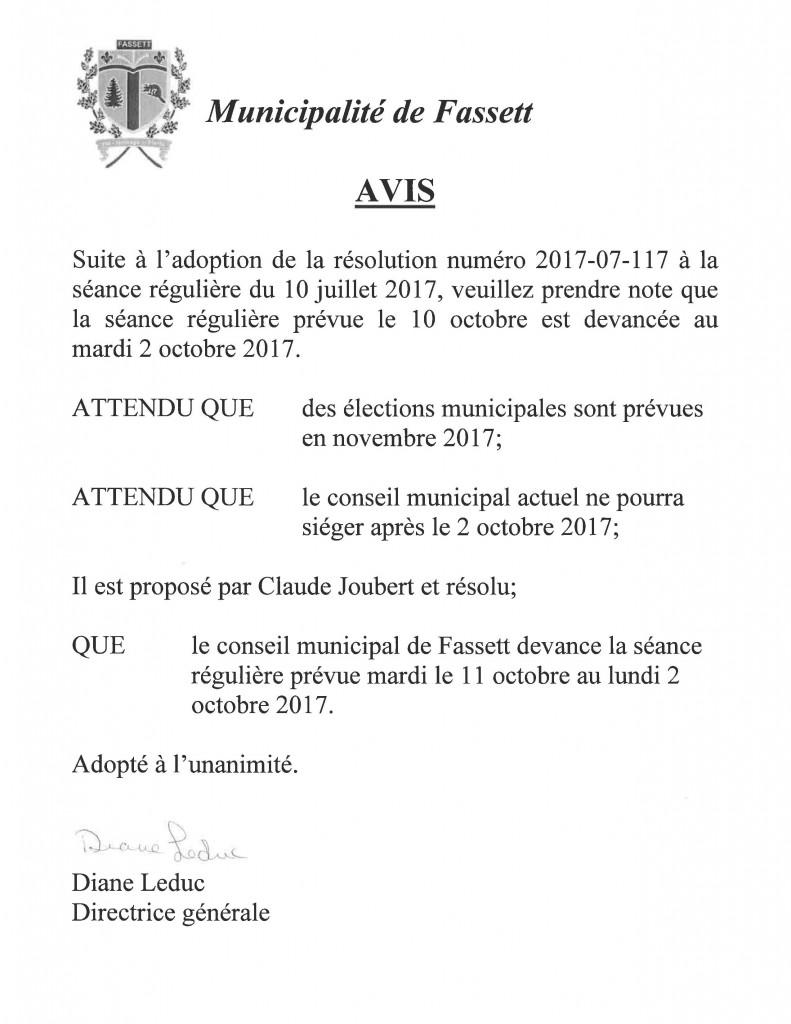 Changement de date de la séance du conseil octobre 2017.2