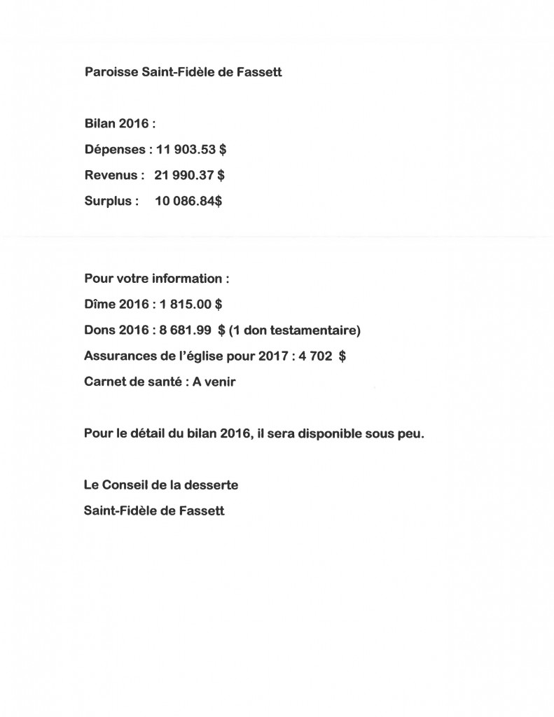 bilan 2016 eglise fasset